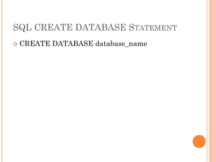 SQLCREATE DATABASE