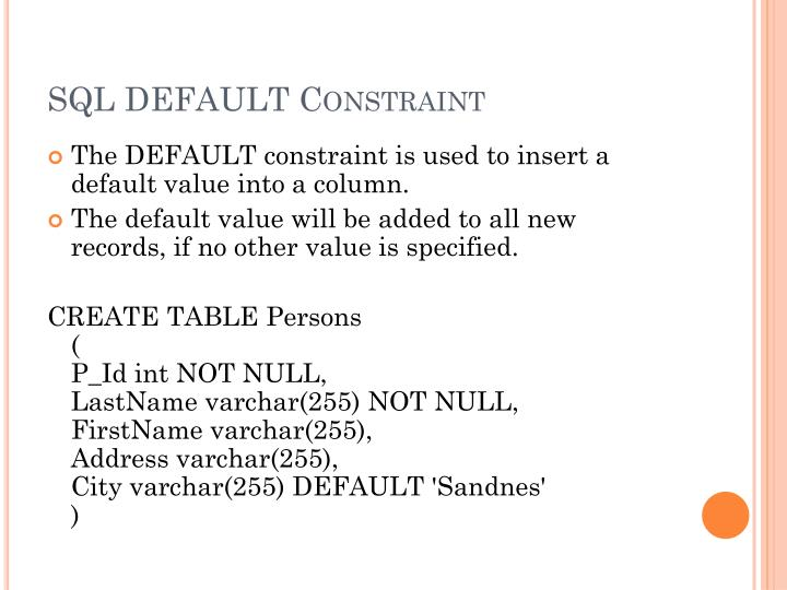 SQLDEFAULT