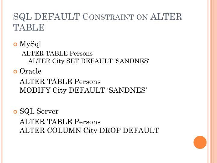 SQL DEFAULT Constraint on ALTER