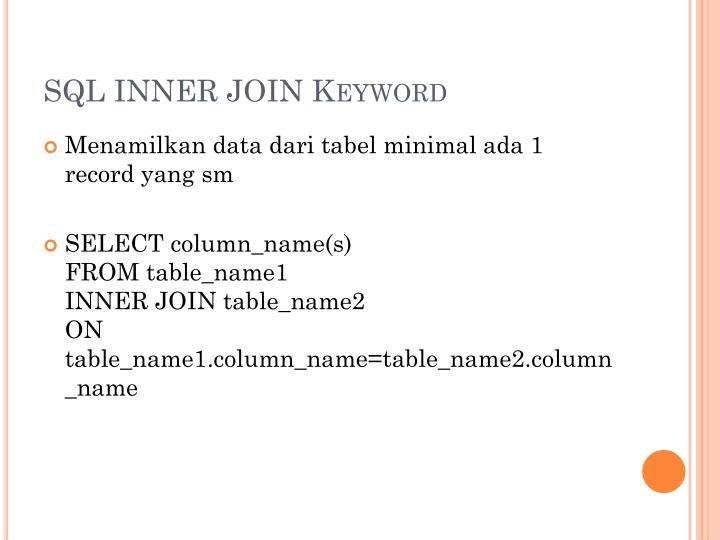 Sql inner join keyword