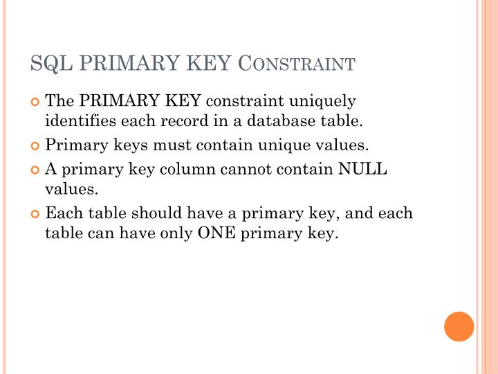 SQL PRIMARY KEY