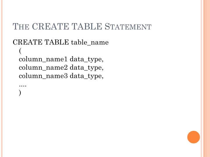 The CREATE TABLE