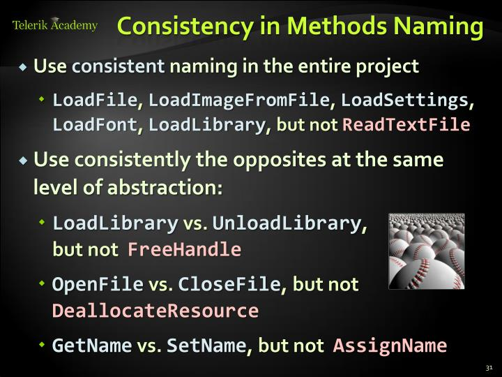 Consistency in Methods Naming