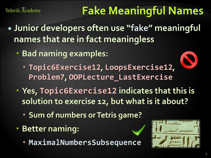 Fake Meaningful Names