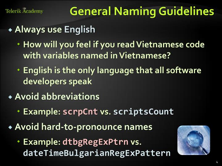 General Naming Guidelines