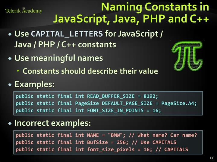 Naming Constants in