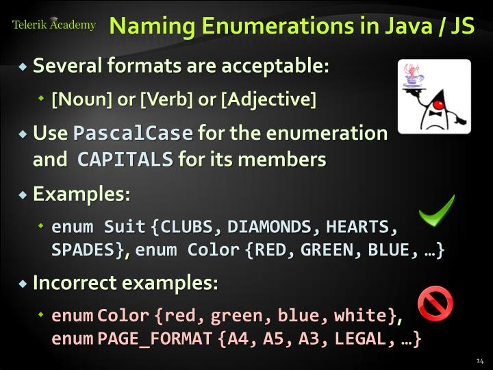 Naming Enumerations in Java / JS
