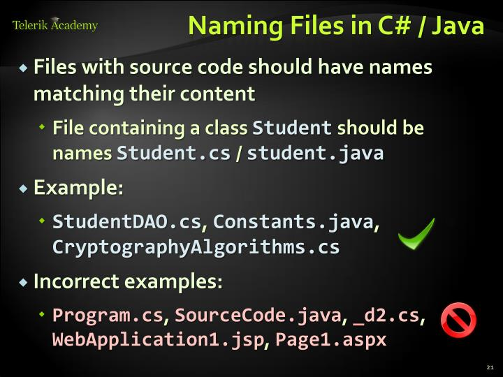 Naming Files in C# / Java