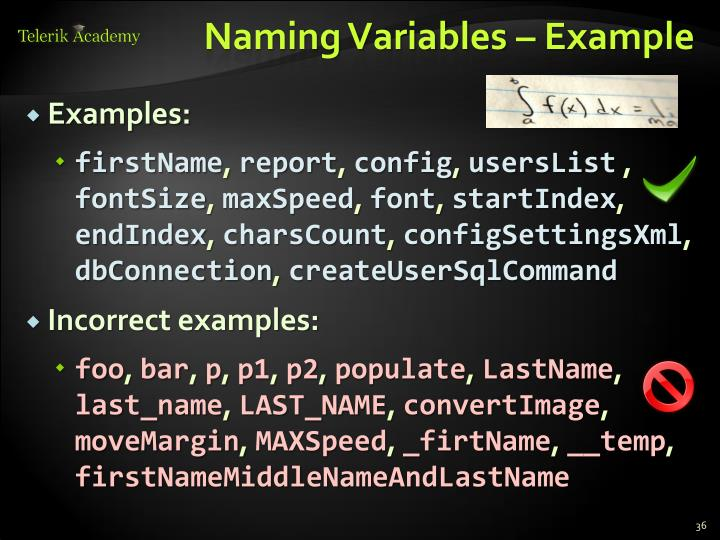 Naming Variables – Example