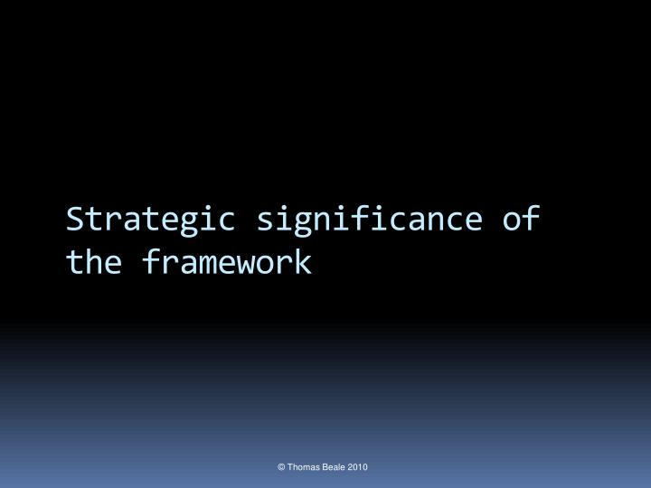 Strategic significance of