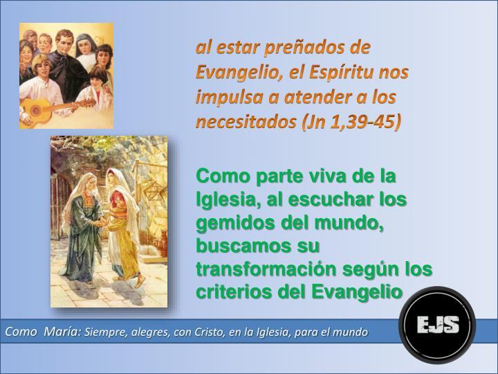 al estar preñados de Evangelio, el Espíritu nos impulsa a atender a los necesitados (
