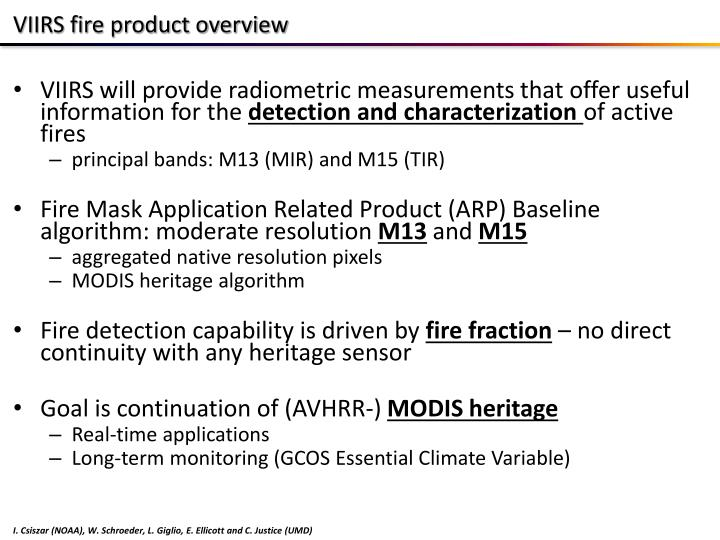 VIIRS fire product overview