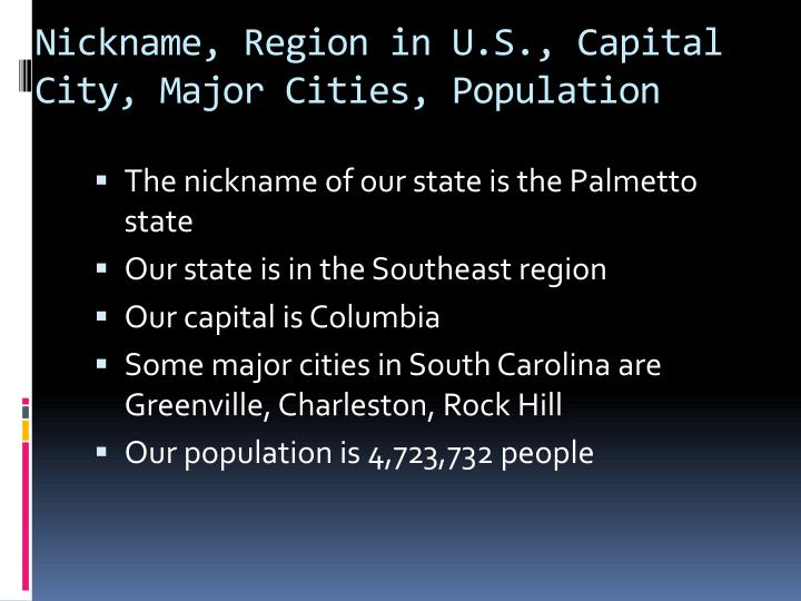 Nickname region in u s capital city major cities population