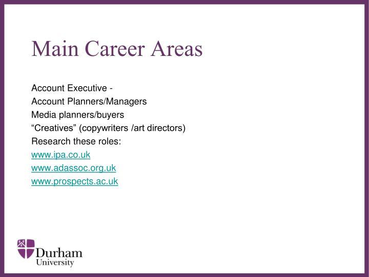 Main Career Areas
