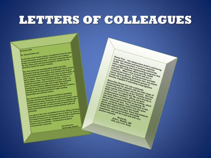 LETTERS OF COLLEAGUES