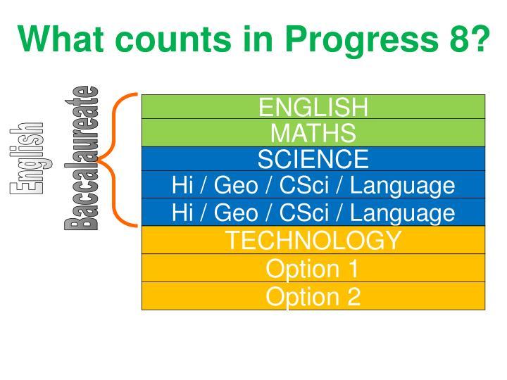 What counts in Progress 8?