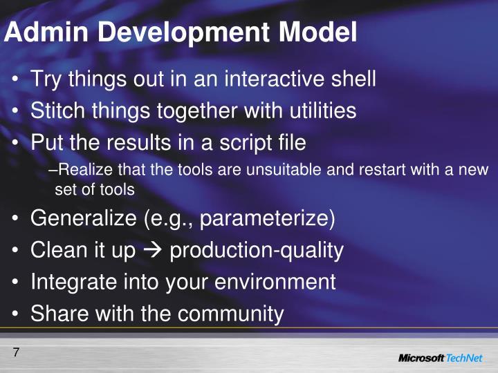 Admin Development Model