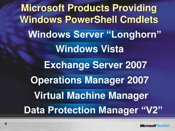 Microsoft Products Providing Windows PowerShell Cmdlets