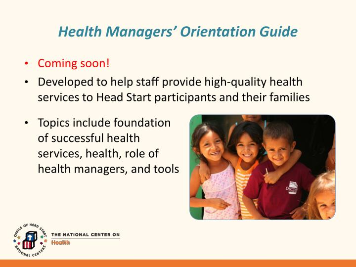 Health Managers' Orientation Guide