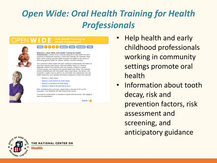 Open Wide: Oral Health Training for Health Professionals