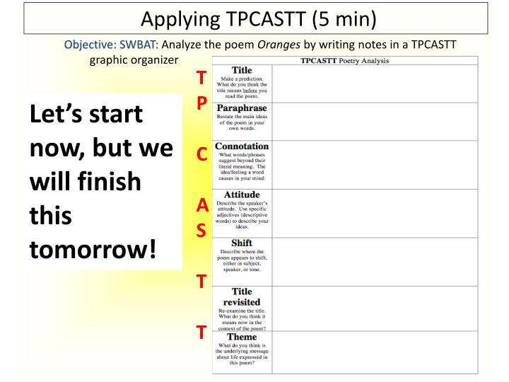 Applying TPCASTT (5 min)