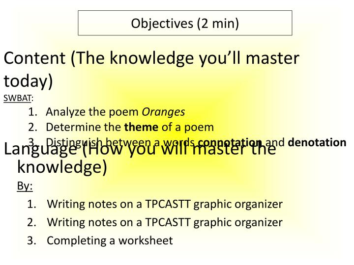 Content (The knowledge you'll master today)