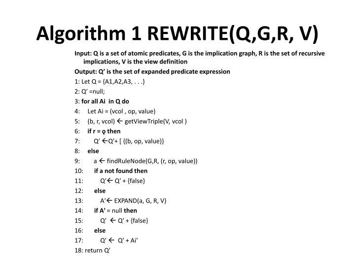 Algorithm 1 REWRITE(Q,G,R, V)