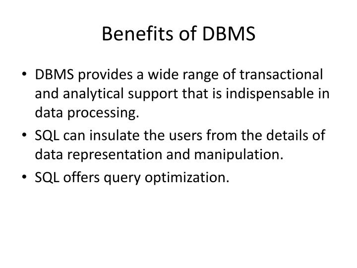Benefits of DBMS
