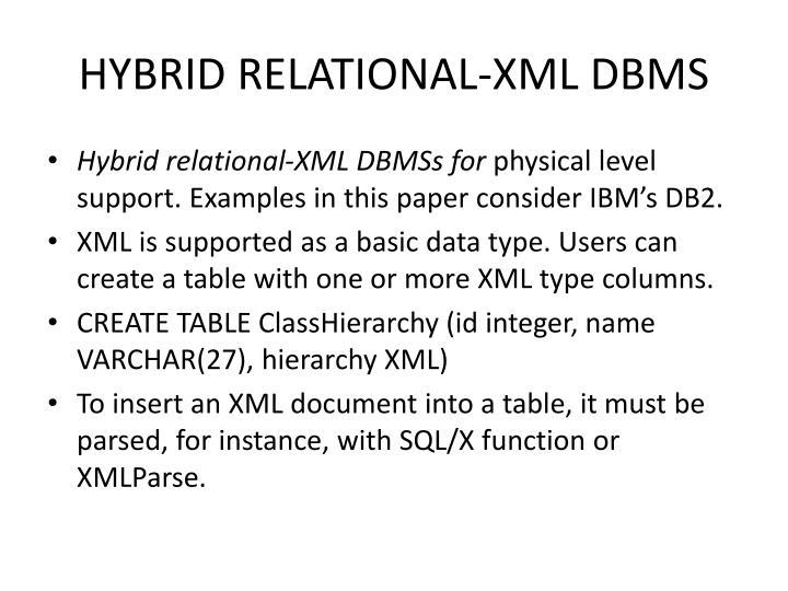 HYBRID RELATIONAL-XML DBMS