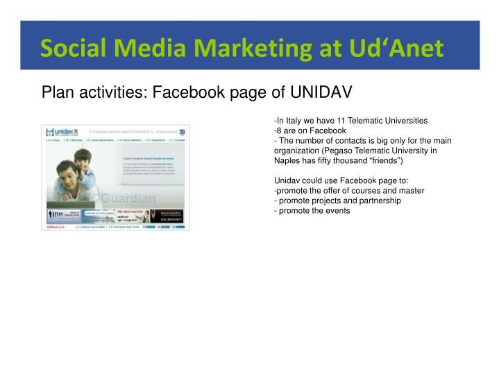 Social Media Marketing at Ud'Anet