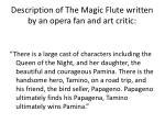 d escription of the magic flute written by an opera fan and art critic