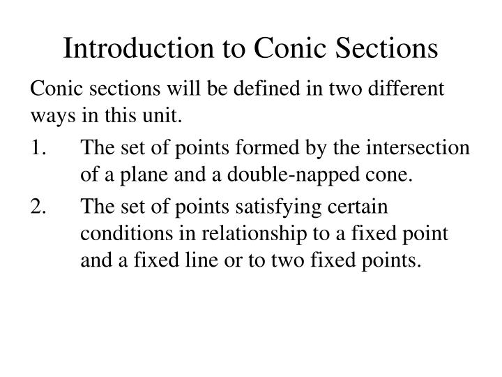introduction to conic sections n.