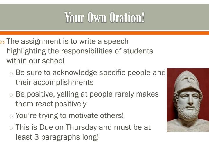 Your Own Oration!