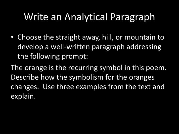 Write an Analytical Paragraph