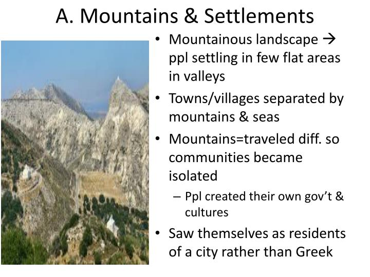 A mountains settlements