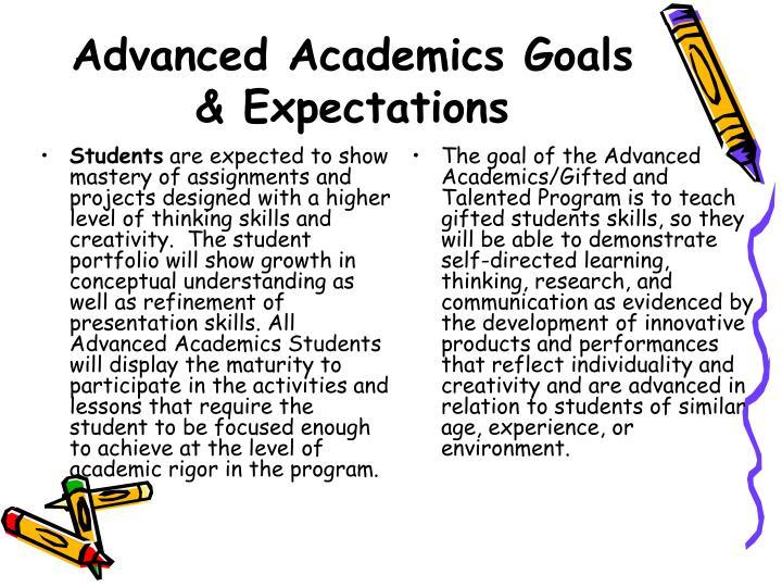 Advanced Academics Goals & Expectations