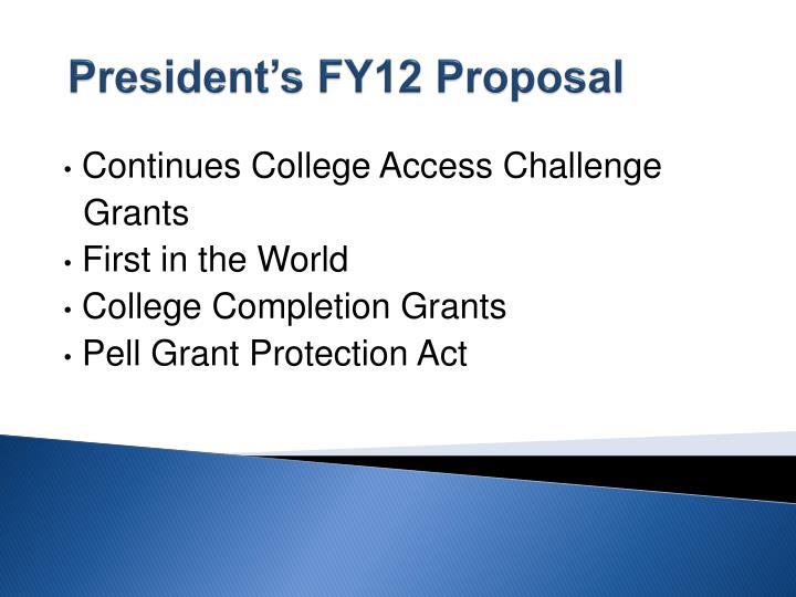 President's FY12 Proposal