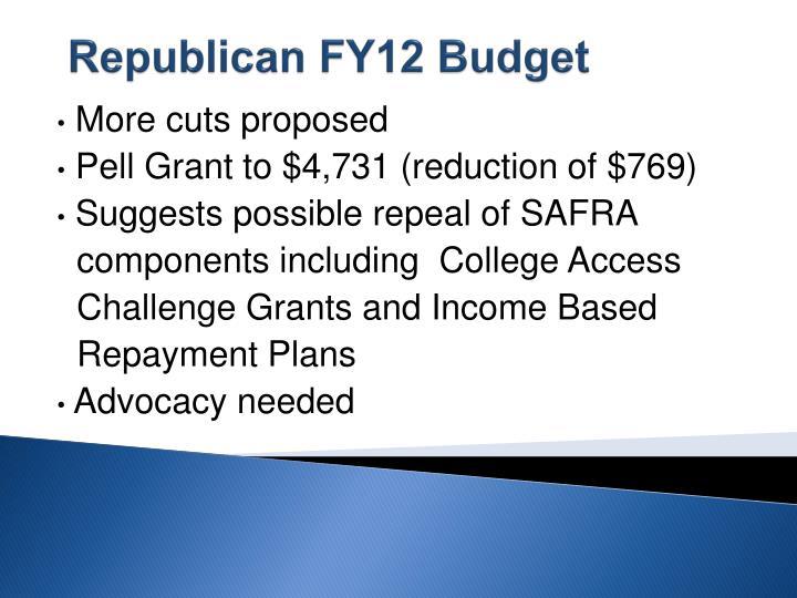 Republican FY12 Budget