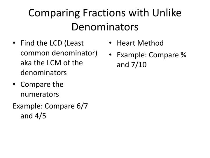 Comparing Fractions with Unlike Denominators