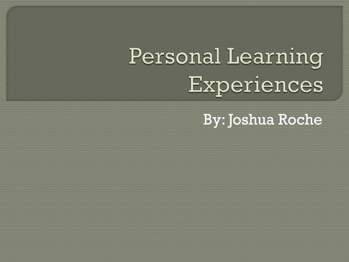 personal learning experiences n.