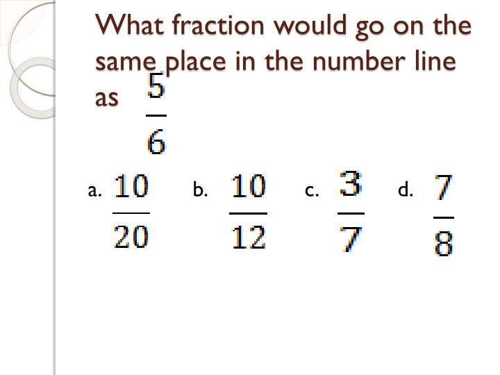 What fraction would go on the same place in the number line as