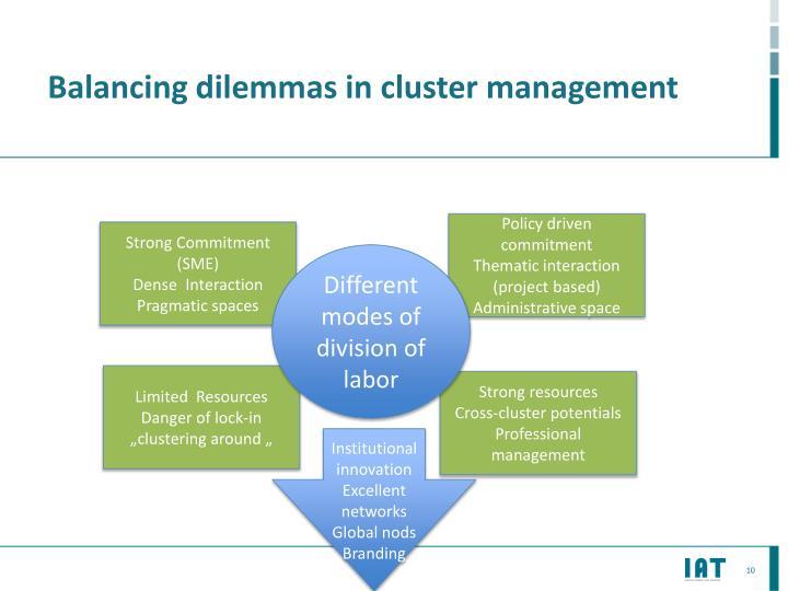 Balancing dilemmas in cluster