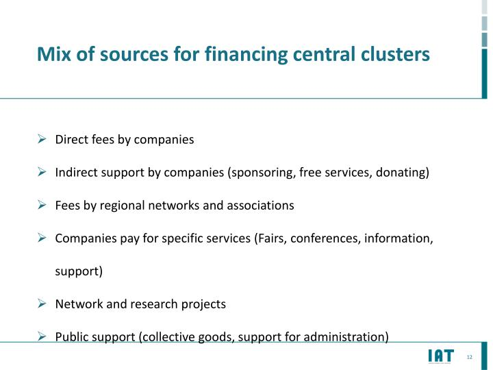 Mix of sources for financing central