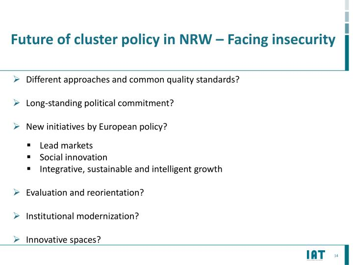 Future of cluster policy in NRW – Facing
