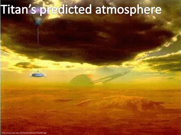 Titan's predicted atmosphere