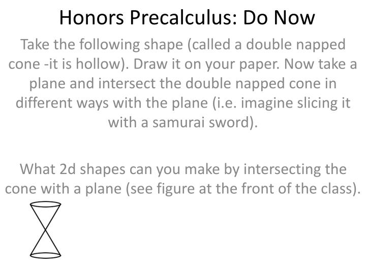 honors p recalculus do now