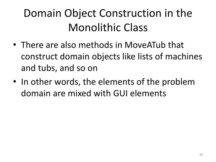 Domain Object Construction in the Monolithic Class