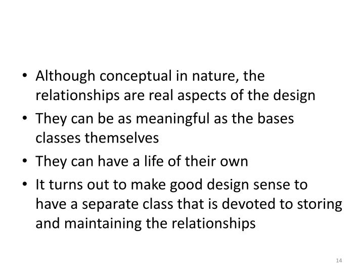 Although conceptual in nature, the relationships are real aspects of the design