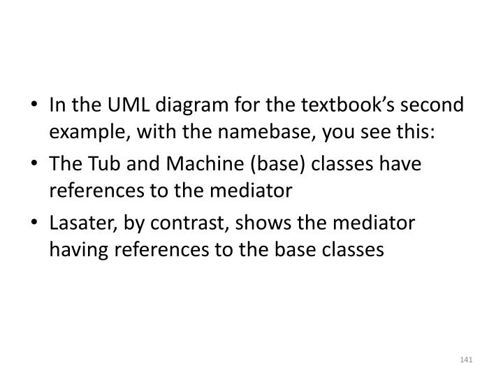 In the UML diagram for the textbook's second example, with the