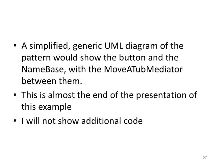 A simplified, generic UML diagram of the pattern would show the button and the